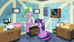 Size: 1280x720 | Tagged: safe, screencap, spike, twilight sparkle, dragon, pony, unicorn, secret of my excess, anatomy, anatomy chart, bowl, candy, chart, diploma, doctor's office, duo, female, food, greed spike, lollipop, male, mare, scale, sink, sitting, tongue depressor, unicorn twilight, whistling, worried, x-ray, x-ray picture