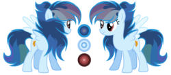 Size: 3264x1440 | Tagged: safe, artist:diamond-chiva, oc, oc:rainbow flames, pegasus, pony, female, mare, offspring, parent:rainbow dash, parent:soarin', parents:soarindash, reference sheet, simple background, solo, transparent background