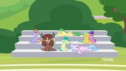 Size: 1920x1080 | Tagged: safe, screencap, auburn vision, berry blend, berry bliss, citrine spark, fire quacker, huckleberry, sandbar, silverstream, yona, classical hippogriff, earth pony, hippogriff, pegasus, pony, unicorn, yak, a matter of principals, bleachers, cloven hooves, discovery family logo, friendship student, tired