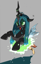 Size: 704x1100 | Tagged: artist:atarute5, changeling, crown, fangs, female, gray background, horn, jewelry, open mouth, queen chrysalis, regalia, safe, simple background, slit eyes, solo, transformation, wings