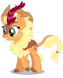 Size: 5000x6161 | Tagged: safe, artist:dragonchaser123, applejack, kirin, sounds of silence, absurd resolution, applekirin, cloven hooves, cowboy hat, cute, cutie mark, female, freckles, grin, hair tie, hat, jackabetes, kirin-ified, leonine tail, mare, raised hoof, simple background, smiling, solo, species swap, standing, stetson, transparent background