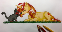 Size: 3956x2047   Tagged: safe, artist:emberslament, artist:gaelledragons, sunset shimmer, litten, pony, unicorn, blushing, boop, chest fluff, collaboration, colored pencil drawing, colored pencils, cute, duo, ear fluff, eyes closed, female, happy, lying down, mare, marzae, photo, pokémon, pokémon sun and moon, shimmerbetes, smiling, traditional art