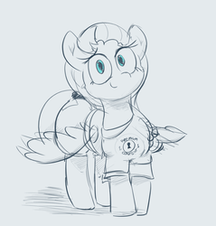 Size: 1584x1659 | Tagged: safe, artist:comfyplum, derpibooru exclusive, oc, oc only, oc:comfy plum, pegasus, pony, clothes, crossed legs, denim shorts, female, jeans, looking at you, mare, pants, partial color, shirt, simple background, smiling, solo, wide hips