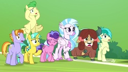 Size: 1920x1080 | Tagged: safe, screencap, auburn vision, berry blend, berry bliss, citrine spark, fire quacker, huckleberry, sandbar, silverstream, yona, classical hippogriff, earth pony, hippogriff, pegasus, pony, unicorn, yak, a matter of principals, bow, braid, cloven hooves, female, friendship student, hair bow, jewelry, male, mare, monkey swings, necklace, stallion