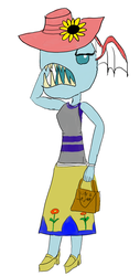 Size: 3426x6765 | Tagged: safe, artist:horsesplease, ocellus, anthro, biteacuda, fish, non-compete clause, angry, calling, clothes, dress, equestria girls-ified, flower, handbag, hat, materialism, not salmon, paint tool sai, wat
