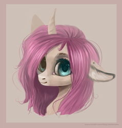 Size: 1903x1999 | Tagged: safe, artist:sarkarozka, oc, oc only, oc:tarot, classical unicorn, pony, unicorn, bust, cloven hooves, curved horn, digital art, digital painting, ear piercing, female, floppy ears, freckles, horn, leonine tail, long mane, looking at you, mare, palomino, piercing, pink mane, portrait, simple background, solo, transparent background, unshorn fetlocks