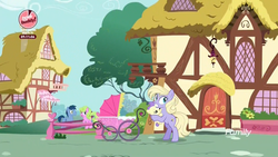 Size: 1920x1080 | Tagged: baby, baby carriage, baby pony, blues, daisy, discovery family logo, earth pony, female, flower wishes, male, mare, noteworthy, pony, ponyville, power chord, safe, screencap, stallion