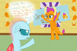 Size: 1200x800 | Tagged: artist:mightyshockwave, changedling, changeling, dragon, ocellus, poster, safe, scootaloo, scootaloo fanclub, smolder, spoiler:s08e20, the washouts (episode)
