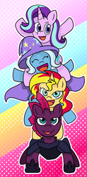 Size: 1024x2073 | Tagged: safe, artist:redpalette, starlight glimmer, sunset shimmer, tempest shadow, trixie, pony, unicorn, broken horn, happy, pony pile, quartet, smiling, tower of pony