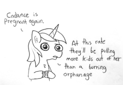 Size: 1280x892 | Tagged: artist:tjpones, black and white, bust, chest fluff, dialogue, ear fluff, grayscale, implied pregnancy, implied princess cadance, lineart, male, monochrome, pony, safe, shining armor, simple background, solo, speech, stallion, traditional art, unicorn, white background