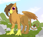 Size: 2720x2360 | Tagged: safe, artist:parallel black, oc, oc:moonquill, griffon, commission, digital art, female, griffon oc, looking at you, mountain