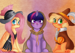 Size: 4900x3500 | Tagged: applejack, artist:compassrose0425, clothes, clover the clever, costume, earth pony, female, fluttershy, hearth's warming eve (episode), mare, pegasus, pony, private pansy, safe, smart cookie, trio, twilight sparkle, unicorn