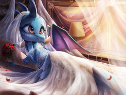 Size: 3600x2700 | Tagged: safe, artist:vanillaghosties, princess ember, dragon, beautiful, bed, bedroom, bouquet, bride, clothes, cute, dragoness, dress, emberbetes, female, flower, lamp, rose, smiling, solo, wedding dress