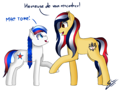 Size: 1600x1214 | Tagged: safe, artist:speed-chaser, oc, oc only, oc:madeleine, oc:marussia, earth pony, pony, cyrillic, female, filly, france, french, mare, nation ponies, ponified, russia, russian, simple background, transparent background