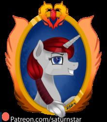 Size: 1024x1159 | Tagged: safe, artist:spokenmind93, oc, oc:ruby heart, pony, unicorn, bust, cutie mark, obtrusive watermark, patreon, patreon logo, patreon reward, ponytail, portrait, simple background, transparent background, watermark