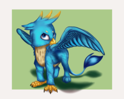 Size: 3500x2800 | Tagged: artist:qbellas, claws, gallus, griffon, male, paws, safe, simple background, solo, wings