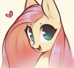 Size: 1404x1294 | Tagged: artist:mirroredsea, cute, female, fluttershy, heart, mare, open mouth, pegasus, pony, safe, shyabetes, smiling, solo