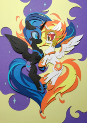 Size: 1661x2347 | Tagged: alicorn, armor, a royal problem, artist:jiuweidehuli, artist:tomatocoup, chest fluff, craft, daybreaker, duo, eye contact, female, helmet, looking at each other, mane of fire, mare, nightmare moon, papercraft, pony, safe, traditional art