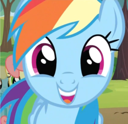 Size: 741x719 | Tagged: close-up, cute, dashabetes, excited, female, happy, mare, open mouth, pegasus, pony, rainbow dash, safe, screencap, smiling, the super speedy cider squeezy 6000