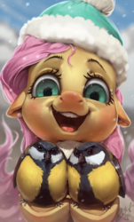 Size: 723x1200   Tagged: safe, artist:assasinmonkey, edit, fluttershy, bird, great tit, pegasus, pony, tit (bird), blushing, clothes, cute, digital painting, female, floppy ears, fluffy, happy, hat, impossibly large tits, looking at you, mare, open mouth, pun, pun in the tags, red nosed, scarf, shyabetes, smiling, snow, visual pun
