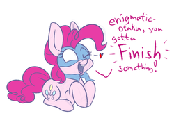 Size: 1280x853 | Tagged: artist:heir-of-rick, chalkzone, dialogue, earth pony, female, heart, mare, mask, motivational, one eye closed, pinkie pie, pony, safe, simple background, snap (chalkzone), snaponka, snappy pie, solo, white background, wink