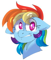 Size: 1869x2187 | Tagged: safe, artist:taaffeiite, derpibooru exclusive, rainbow dash, pegasus, pony, anxiety, bust, crying, female, floppy ears, frown, gritted teeth, looking at you, mare, nervous, scared, shading practice, shrunken pupils, simple background, solo, sweat, tears of fear, teary eyes, white background, wide eyes, worried