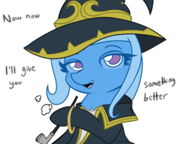 Size: 4096x3341 | Tagged: safe, artist:tjpones, color edit, edit, editor:mennydrives, trixie, pony, unicorn, colored, female, goblin slayer, hat, lidded eyes, looking at you, mare, pipe, simple background, smoking, white background, witch, wizard hat