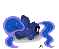 Size: 600x500 | Tagged: safe, artist:hilloty, princess luna, alicorn, pony, chibi, prone, simple background, sketch, sleeping, solo