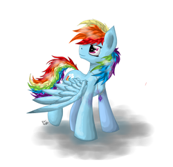 Size: 1200x1163 | Tagged: safe, artist:hilloty, rainbow dash, pony, 2013, backwards cutie mark, jewelry, looking back, messy mane, necklace, solo, spread wings, wings