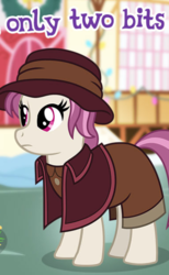 Size: 395x642 | Tagged: safe, editor:apex soundwave, heartfelt song, earth pony, pony, clothes, female, gameloft, implied prostitution, mare, meme, solo, wow! glimmer