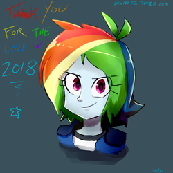 Size: 1600x1600 | Tagged: safe, artist:manic-the-lad, rainbow dash, equestria girls, alternate hairstyle, bust, happy new year 2019, thank you