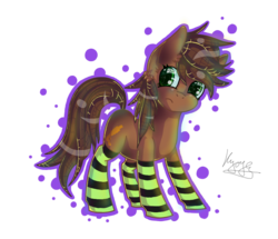 Size: 930x800 | Tagged: safe, artist:hilloty, oc, oc only, pony, clothes, green eyes, simple background, socks, solo, striped socks, transparent background