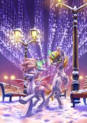 Size: 1461x2067 | Tagged: safe, artist:holivi, oc, oc only, bat pony, pony, unicorn, bat pony oc, commission, female, glowing horn, lamppost, magic, male, mare, rearing, smiling, snow, stallion