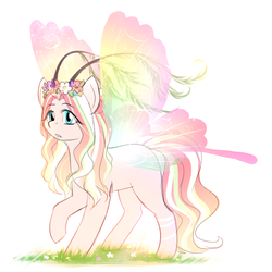 Size: 750x750 | Tagged: safe, artist:its-gloomy, oc, oc only, fairy pony, pony, antennae, fairy wings, female, mare, simple background, solo, transparent wings, white background