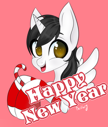 Size: 1207x1418 | Tagged: alicorn, alicorn oc, artist:bestiary, candy, candy cane, clothes, food, happy new year, holiday, horn, oc, oc:shiron, safe, socks, wings
