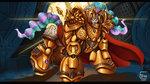 Size: 3265x1837   Tagged: safe, artist:eztp, princess celestia, alicorn, pony, armor, crossover, female, god empress of ponykind, heresy, mare, smiling, solo, terminator armor, warhammer (game), warhammer 40k
