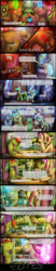 Size: 1200x5805 | Tagged: applejack, artist:bonaxor, cake, changedling, changeling, christmas, christmas tree, comic, comic:the greater flame, cozy glow, dream, female, fluttershy, food, glasses, holiday, kissing, knife, magic, male, mistletoe, oc, oc:berzie, oc:stainless key, one eye closed, pillow, pinkie pie, pony, princess luna, rainbow dash, rarity, safe, starlight glimmer, tree, wink