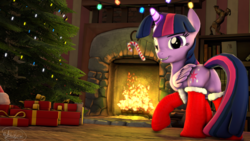 Size: 3840x2160 | Tagged: safe, artist:whiteskyline, twilight sparkle, alicorn, pony, 3d, book, bookshelf, candy, candy cane, christmas, christmas tree, clothes, female, fireplace, food, holiday, magic, present, socks, solo, source filmmaker, tree, twilight sparkle (alicorn)