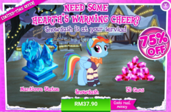 Size: 1034x678 | Tagged: safe, rainbow dash, snowdash, manticore, pegasus, pony, 2019, advertisement, bowtie, costs real money, craft, female, gameloft, gem, happy new year, holiday, mare, official, sale, sculpture, statue