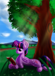 Size: 2585x3600 | Tagged: alicorn, artist:qbellas, book, crepuscular rays, dappled sunlight, female, grass, mare, pony, prone, reading, safe, scenery, solo, tree, twilight sparkle, twilight sparkle (alicorn)