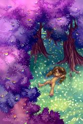 Size: 1378x2067 | Tagged: safe, artist:holivi, oc, pony, apple, apple tree, armpits, clearing, eyes closed, female, flower, food, forest, leaves, on back, outdoors, relaxing, smiling, solo, spread legs, tree, underhoof, unshorn fetlocks, zap apple, zap apple tree