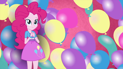 Size: 1920x1080 | Tagged: balloon, clothes, dress, equestria girls, female, human, pinkie pie, safe, screencap, smiling, solo, wallpaper