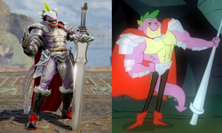Size: 1800x1080 | Tagged: a dog and pony show, armor, beefspike, comparison, dreamworks face, looking at you, male, safe, soul calibur, soul calibur vi, spike, sword, weapon