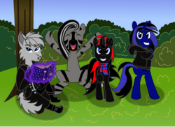 Size: 1583x1155 | Tagged: safe, artist:sorasleafeon, oc, oc:airwave, oc:aren, oc:shadow sora, oc:spazz, anthro, pony, unicorn, wolf, zebra, anthro with ponies, best friends, bipedal, book, boots, clothes, coat, content, friendship, gloves, group photo, group shot, happy, hoodie, horn, jumping, jumping for joy, looking at you, magic, magic aura, pants, quadrupedal, scarf, scarves, shoes, smiling, stoic, stripes, telekinesis, zebra oc