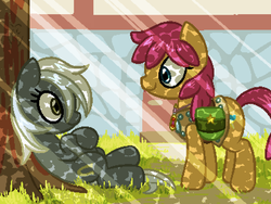 Size: 800x600 | Tagged: safe, artist:rangelost, oc, oc only, oc:lucky smith, oc:trailblazer, earth pony, pony, cyoa:d20 pony, armor, colored, crepuscular rays, cyoa, description is relevant, duo, female, jewelry, leather armor, lying down, mare, necklace, outdoors, pixel art, relaxing, saddle bag, story included, tree
