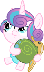 Size: 3000x4936 | Tagged: safe, artist:cloudyglow, princess flurry heart, whammy, alicorn, pony, a flurry of emotions, .ai available, cute, female, flurrybetes, frown, glare, hug, looking up, simple background, sitting, solo, transparent background, unamused, vector