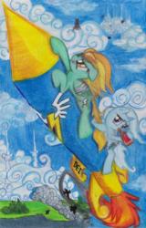 Size: 2475x3864 | Tagged: safe, artist:deihiru, lightning dust, trixie, pegasus, pony, unicorn, bandage, bandaged wing, bottle, cloud, cloudy, drinking, flying, hilarious in hindsight, injured, injured wing, rocket, sitting, sitting on cloud, traditional art, wonderbolts logo