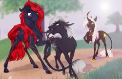Size: 1360x877   Tagged: safe, artist:dementra369, oc, oc:hara, oc:obsidian blossom, oc:ts'eḥāyi, classical unicorn, crystal pony, monster pony, original species, pony, tatzlpony, unicorn, cloven hooves, curved horn, female, horn, leonine tail, mare, red and black oc, unshorn fetlocks