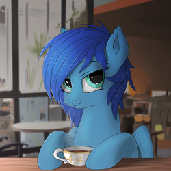 Size: 1000x1000 | Tagged: safe, artist:hardbrony, oc, oc:lavender skies, pegasus, pony, cafe, counter, cup, drink, sitting, smiling, solo, table