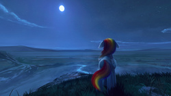 Size: 1920x1080   Tagged: safe, artist:quvr, rainbow dash, pegasus, pony, 360, cloud, face not visible, facing away, female, floppy ears, folded wings, full moon, grass, looking away, mare, moon, night, night sky, rear view, river, scenery, scenery porn, sky, solo, standing, starry night, wings